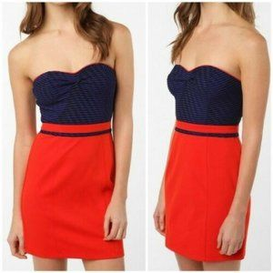 Silence + Noise Red and Blue Strapless Dress